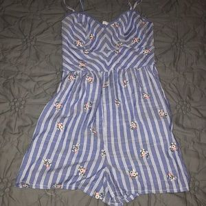 coco + jaimeson blue striped floral romper
